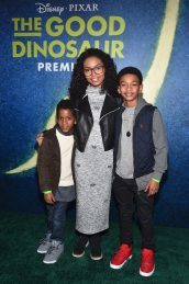 HOLLYWOOD, CA - NOVEMBER 17: (2nd L-R) Actress Yara Shahidi, Sayeed Shahidi and guest attend the World Premiere Of Disney-Pixar's THE GOOD DINOSAUR at the El Capitan Theatre on November 17, 2015 in Hollywood, California. (Photo by Alberto E. Rodriguez/Getty Images for Disney) *** Local Caption *** Yara Shahidi; Sayeed Shahidi