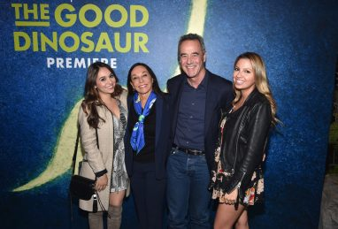 HOLLYWOOD, CA - NOVEMBER 17: (L-R) Katie Morris, Gail Morris, President, Pixar Animation Studios, Jim Morris and guest attend the World Premiere Of Disney-Pixar's THE GOOD DINOSAUR at the El Capitan Theatre on November 17, 2015 in Hollywood, California. (Photo by Alberto E. Rodriguez/Getty Images for Disney) *** Local Caption *** Katie Morris; Gail Morris; Jim Morris
