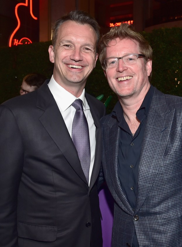 HOLLYWOOD, CA - JUNE 08: President of Walt Disney Studios Motion Picture Production, Sean Bailey (L) and Director/screenwriter Andrew Stanton attend The World Premiere of Disney-Pixar's FINDING DORY on Wednesday, June 8, 2016 in Hollywood, California. (Photo by Alberto E. Rodriguez/Getty Images for Disney) *** Local Caption *** Sean Bailey; Andrew Stanton