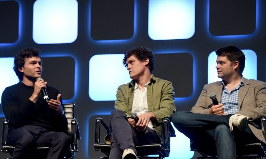 LONDON, ENGLAND - JULY 17: (L-R) John Boyega, Alden Ehrenreich and Chris Miller on stage during Future Directors Panel at the Star Wars Celebration 2016 at ExCel on July 17, 2016 in London, England. (Photo by Ben A. Pruchnie/Getty Images for Walt Disney Studios) *** Local Caption *** John Boyega; Alden Ehrenreich; Chris Miller