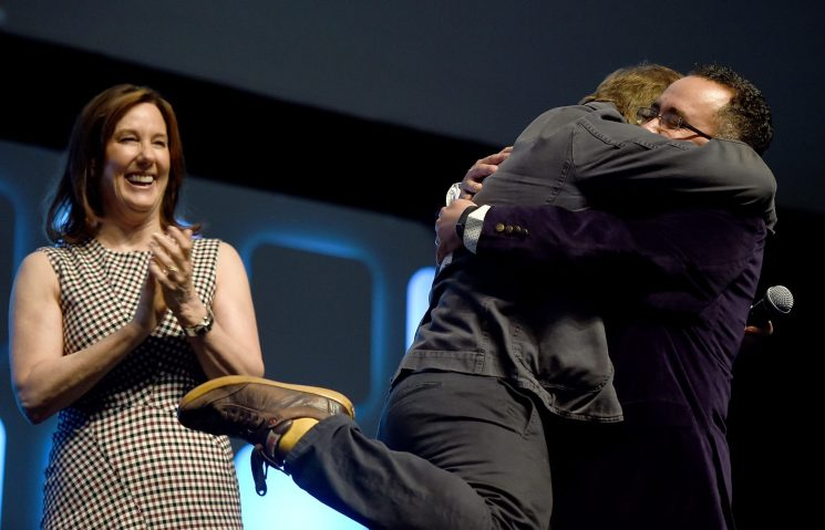 LONDON, ENGLAND - JULY 17: (L-R) Kathleen Kennedy, Rian Johnson, director of Star Wars Episode VIII, and Pablo Hidalgo on stage during Future Directors Panel at the Star Wars Celebration 2016 at ExCel on July 17, 2016 in London, England. (Photo by Ben A. Pruchnie/Getty Images for Walt Disney Studios) *** Local Caption *** Kathleen Kennedy; Rian Johnson; Pablo Hidalgo