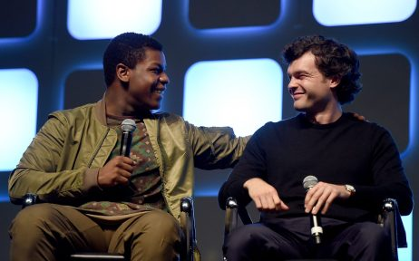 LONDON, ENGLAND - JULY 17: John Boyega (L) and Alden Ehrenreich, who will play Han Solo, on stage during Future Directors Panel at the Star Wars Celebration 2016 at ExCel on July 17, 2016 in London, England. (Photo by Ben A. Pruchnie/Getty Images for Walt Disney Studios) *** Local Caption *** John Boyega; Alden Ehrenreich