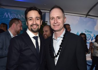 """HOLLYWOOD, CA - NOVEMBER 14: Songwriter Lin-Manuel Miranda (L) and music supervisor Tom MacDougall attend The World Premiere of Disney's """"MOANA"""" at the El Capitan Theatre on Monday, November 14, 2016 in Hollywood, CA. (Photo by Alberto E. Rodriguez/Getty Images for Disney) *** Local Caption *** Lin-Manuel Miranda; Tom MacDougall"""