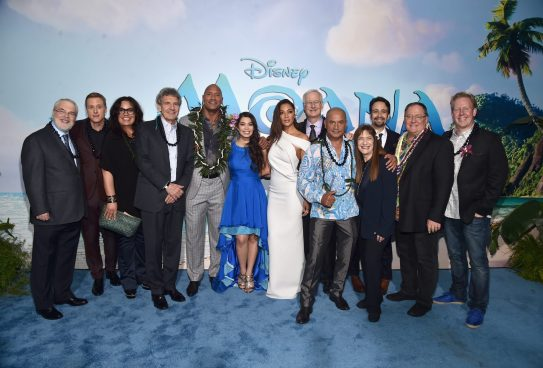 """HOLLYWOOD, CA - NOVEMBER 14: (L-R) Co- Director Ron Clements, actors Alan Tudyk, Rachel House, Chairman, The Walt Disney Studios, Alan Horn, actors Dwayne Johnson, Auli'i Cravalho, Nicole Scherzinger, co-director John Musker, actor Temuera Morrison, Producer Osnat Shurer, Songwriter Lin-Manuel Miranda, Executive producer John Lasseter and Screenwriter Jared Bush attend The World Premiere of Disney's """"MOANA"""" at the El Capitan Theatre on Monday, November 14, 2016 in Hollywood, CA. (Photo by Alberto E. Rodriguez/Getty Images for Disney) *** Local Caption *** Ron Clements; Alan Tudyk; Rachel House; Alan Horn; Dwayne Johnson; Auli'i Cravalho; Nicole Scherzinger; John Musker; Temuera Morrison; Osnat Shurer; Lin-Manuel Miranda; John Lasseter; Jared Bush"""