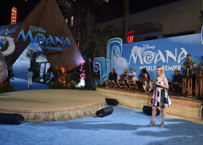 """HOLLYWOOD, CA - NOVEMBER 14: Radio personality Julia Cunningham (R) speaks at The World Premiere of Disney's """"MOANA"""" at the El Capitan Theatre on Monday, November 14, 2016 in Hollywood, CA. (Photo by Alberto E. Rodriguez/Getty Images for Disney) *** Local Caption *** Julia Cunningham"""
