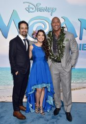 """HOLLYWOOD, CA - NOVEMBER 14: (L-R) Songwriter Lin-Manuel Miranda, actors Auli'i Cravalho and Dwayne Johnson attend The World Premiere of Disney's """"MOANA"""" at the El Capitan Theatre on Monday, November 14, 2016 in Hollywood, CA. (Photo by Alberto E. Rodriguez/Getty Images for Disney) *** Local Caption *** Auli'i Cravalho; Dwayne Johnson; Lin-Manuel Miranda"""