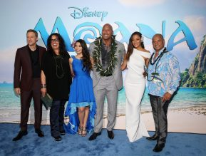 "HOLLYWOOD, CA - NOVEMBER 14: (L-R) Actors Alan Tudyk, Rachel House, Auli'i Cravalho, Dwayne Johnson, Nicole Scherzinger, and Temuera Morrison attend The World Premiere of Disney's ""MOANA"" at the El Capitan Theatre on Monday, November 14, 2016 in Hollywood, CA. (Photo by Jesse Grant/Getty Images for Disney) *** Local Caption *** Auli'i Cravalho; Dwayne Johnson; Rachel House; Alan Tudyk; Nicole Scherzinger; Temuera Morrison"