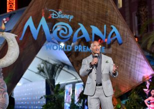 "HOLLYWOOD, CA - NOVEMBER 14: Actor Dwayne Johnson speaks onstage at The World Premiere of Disney's ""MOANA"" at the El Capitan Theatre on Monday, November 14, 2016 in Hollywood, CA. (Photo by Alberto E. Rodriguez/Getty Images for Disney) *** Local Caption *** Dwayne Johnson"