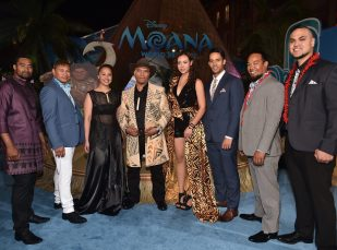 "HOLLYWOOD, CA - NOVEMBER 14: Musicians Opetaia Foa'i and Olivia Foa'i (both C) and band Te Vaka attend The World Premiere of Disney's ""MOANA"" at the El Capitan Theatre on Monday, November 14, 2016 in Hollywood, CA. (Photo by Alberto E. Rodriguez/Getty Images for Disney) *** Local Caption *** Opetaia Foa'i; Olivia Foa'i; Joe Toomata; Douglas Bernard; Matatia Foa'i; Etueni (Edwin) Pita; Manase Foa'i"