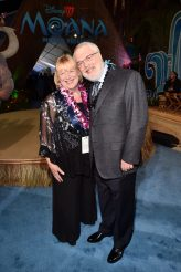 "HOLLYWOOD, CA - NOVEMBER 14: Director Ron Clements (R) and Tamara Lee Clements attend The World Premiere of Disney's ""MOANA"" at the El Capitan Theatre on Monday, November 14, 2016 in Hollywood, CA. (Photo by Alberto E. Rodriguez/Getty Images for Disney) *** Local Caption *** Ron Clements"