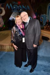 """HOLLYWOOD, CA - NOVEMBER 14: Director Ron Clements (R) and Tamara Lee Clements attend The World Premiere of Disney's """"MOANA"""" at the El Capitan Theatre on Monday, November 14, 2016 in Hollywood, CA. (Photo by Alberto E. Rodriguez/Getty Images for Disney) *** Local Caption *** Ron Clements"""