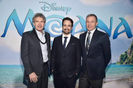 """HOLLYWOOD, CA - NOVEMBER 14: (L-R) Walt Disney Studios Chairman Alan Horn, songwriter Lin-Manuel Miranda, and Walt Disney Company CEO Robert Iger attend The World Premiere of Disney's """"MOANA"""" at the El Capitan Theatre on Monday, November 14, 2016 in Hollywood, CA. (Photo by Alberto E. Rodriguez/Getty Images for Disney) *** Local Caption *** Lin-Manuel Miranda; Robert Iger; Alan Horn"""