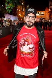 "HOLLYWOOD, CA - DECEMBER 10: Singer A. J. McLean attends The World Premiere of Lucasfilm's highly anticipated, first-ever, standalone Star Wars adventure, ""Rogue One: A Star Wars Story"" at the Pantages Theatre on December 10, 2016 in Hollywood, California. (Photo by Jesse Grant/Getty Images for Disney) *** Local Caption *** A. J. McLean"