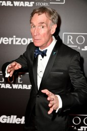 "HOLLYWOOD, CA - DECEMBER 10: Bill Nye attends The World Premiere of Lucasfilm's highly anticipated, first-ever, standalone Star Wars adventure, ""Rogue One: A Star Wars Story"" at the Pantages Theatre on December 10, 2016 in Hollywood, California. (Photo by Earl Gibson III/Getty Images for Disney) *** Local Caption *** Bill Nye"