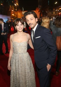 "HOLLYWOOD, CA - DECEMBER 10: Actors Felicity Jones and Diego Luna attend The World Premiere of Lucasfilm's highly anticipated, first-ever, standalone Star Wars adventure, ""Rogue One: A Star Wars Story"" at the Pantages Theatre on December 10, 2016 in Hollywood, California. (Photo by Jesse Grant/Getty Images for Disney) *** Local Caption *** Diego Luna; Felicity Jones"