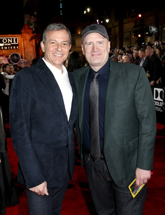 "HOLLYWOOD, CA - DECEMBER 10: The Walt Disney Company Chairman/CEO Bob Iger (L) and Marvel Studios President Kevin Feige attend The World Premiere of Lucasfilm's highly anticipated, first-ever, standalone Star Wars adventure, ""Rogue One: A Star Wars Story"" at the Pantages Theatre on December 10, 2016 in Hollywood, California. (Photo by Joe Scarnici/Getty Images for Disney) *** Local Caption *** Bob Iger; Kevin Feige"