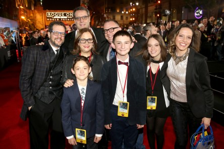 "HOLLYWOOD, CA - DECEMBER 10: Composer Michael Giacchino (far left) and guests attend The World Premiere of Lucasfilm's highly anticipated, first-ever, standalone Star Wars adventure, ""Rogue One: A Star Wars Story"" at the Pantages Theatre on December 10, 2016 in Hollywood, California. (Photo by Jesse Grant/Getty Images for Disney) *** Local Caption *** Michael Giacchino"
