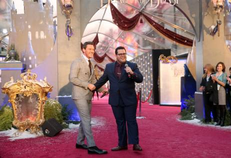 "LOS ANGELES, CA - MARCH 02: Actors Luke Evans and Josh Gad perform at the world premiere of Disney's live-action ""Beauty and the Beast"" at the El Capitan Theatre in Hollywood as the cast and filmmakers continue their worldwide publicity tour on March 2, 2017 in Los Angeles, California. (Photo by Jesse Grant/Getty Images for Disney) *** Local Caption *** Luke Evans; Josh Gad"