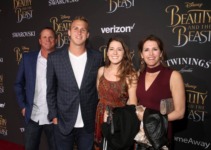 "LOS ANGELES, CA - MARCH 02: Professional Football player Jared Goff (2nd L) and family arrive for the world premiere of Disney's live-action ""Beauty and the Beast"" at the El Capitan Theatre in Hollywood as the cast and filmmakers continue their worldwide publicity tour on March 2, 2017 in Los Angeles, California. (Photo by Jesse Grant/Getty Images for Disney) *** Local Caption *** Jared Goff"