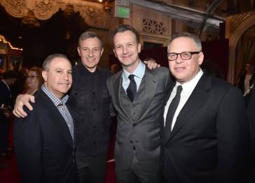 "LOS ANGELES, CA - MARCH 02: (L-R) Walt Disney Studios President Alan Bergman, The Walt Disney Company Chairman and CEO Bob Iger, President of Walt Disney Studios Motion Picture Production, Sean Bailey and Director Bill Condon arrive for the world premiere of Disney's live-action ""Beauty and the Beast"" at the El Capitan Theatre in Hollywood as the cast and filmmakers continue their worldwide publicity tour on March 2, 2017 in Los Angeles, California. (Photo by Alberto E. Rodriguez/Getty Images for Disney) *** Local Caption *** Alan Bergman; Bob Iger; Sean Bailey; Bill Condon"