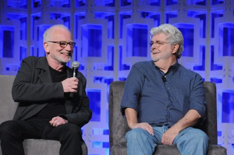 ORLANDO, FL - APRIL 13: Ian McDiarmid and George Lucas attend the 40 YEARS OF STAR WARS PANEL during the 2017 STAR WARS CELEBRATION at Orange County Convention Center on April 13, 2017 in Orlando, Florida. (Photo by Gerardo Mora/Getty Images for Disney) *** Local Caption *** Ian McDiarmid;George Lucas
