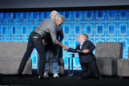 ORLANDO, FL - APRIL 13: Harrison Ford and Warwick Davis attend the 40 YEARS OF STAR WARS PANEL during the 2017 STAR WARS CELEBRATION at Orange County Convention Center on April 13, 2017 in Orlando, Florida. (Photo by Gerardo Mora/Getty Images for Disney) *** Local Caption *** Harrison Ford;Warwick Davis