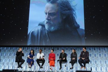 ORLANDO, FL - APRIL 14: Mark Hamill, Kelly Marie Tran, John Boyega, Daisy Ridley, Rian Johnson, Kathleen Kennedy and Josh Gad attend the STAR WARS: THE LAST JEDI PANEL during the 2017 STAR WARS CELEBRATION at Orange County Convention Center on April 14, 2017 in Orlando, Florida. (Photo by Gerardo Mora/Getty Images for Disney) *** Local Caption *** Mark Hamill, Kelly Marie Tran;John Boyega;Daisy Ridley;Rian Johnson;Kathleen Kennedy;Josh Gad
