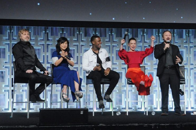 ORLANDO, FL - APRIL 14: Mark Hamill, Kelly Marie Tran, John Boyega, Daisy Ridley and Rian Johnson attend the STAR WARS: THE LAST JEDI PANEL during the 2017 STAR WARS CELEBRATION at Orange County Convention Center on April 14, 2017 in Orlando, Florida. (Photo by Gerardo Mora/Getty Images for Disney) *** Local Caption *** Mark Hamill;Kelly Marie Tran;John Boyega;Daisy Ridley;Rian Johnson