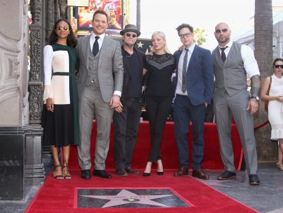 HOLLYWOOD, CA - APRIL 21: (L-R) Actors Zoe Saldana, Chris Pratt, Michael Rooker, Pom Klementieff, Writer/director James Gunn and actor Dave Bautista at the Chris Pratt Walk Of Fame Star Ceremony on April 21, 2017 in Hollywood, California. (Photo by Jesse Grant/Getty Images for Disney) *** Local Caption *** Zoe Saldana; Chris Pratt; Michael Rooker; Pom Klementieff; James Gunn; Dave Bautista