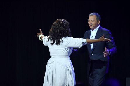 D23 EXPO 2017 - Friday, July 14, 2017 - The Ultimate Disney Fan Event - brings together all the worlds of Disney under one roof for three packed days of presentations, pavilions, experiences, concerts, sneak peeks, shopping, and more. The event, which takes place July 14-16 at the Anaheim Convention Center, provides fans with unprecedented access to Disney films, television, games, theme parks, and celebrities. (Disney/Image Group LA) OPRAH WINFREY, ROBERT A. IGER (CHAIRMAN AND CHIEF EXECUTIVE OFFICER, THE WALT DISNEY COMPANY)