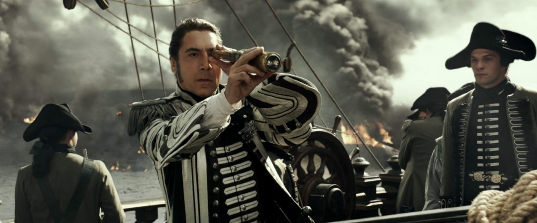 """""""PIRATES OF THE CARIBBEAN: DEAD MEN TELL NO TALES""""..The villainous Captain Salazar (Javier Bardem) pursues Jack Sparrow (Johnny Depp) as he searches for the trident used by Poseidon..Pictured: Captain Salazar (Javier Bardem)..Ph: Film Frame..© Disney Enterprises, Inc. All Rights Reserved."""