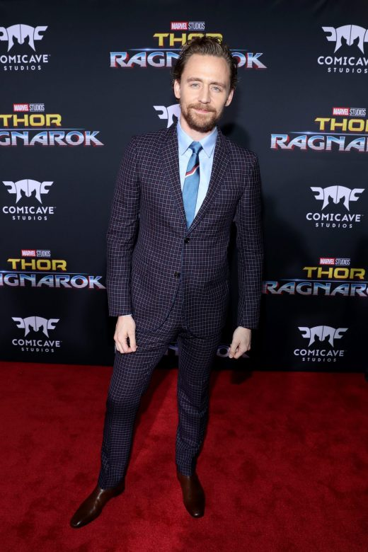 """HOLLYWOOD, CA - OCTOBER 10: Actor Tom Hiddleston at The World Premiere of Marvel Studios' """"Thor: Ragnarok"""" at the El Capitan Theatre on October 10, 2017 in Hollywood, California. (Photo by Rich Polk/Getty Images for Disney) *** Local Caption *** Tom Hiddleston"""