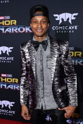 """HOLLYWOOD, CA - OCTOBER 10: Actor Rashaad Dunn at The World Premiere of Marvel Studios' """"Thor: Ragnarok"""" at the El Capitan Theatre on October 10, 2017 in Hollywood, California. (Photo by Rich Polk/Getty Images for Disney) *** Local Caption *** Rashaad Dunn"""