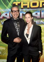 """HOLLYWOOD, CA - OCTOBER 10: Actor Jeff Goldblum (L) and Emilie Livingston at The World Premiere of Marvel Studios' """"Thor: Ragnarok"""" at the El Capitan Theatre on October 10, 2017 in Hollywood, California. (Photo by Alberto E. Rodriguez/Getty Images for Disney) *** Local Caption *** Jeff Goldblum; Emilie Livingston"""