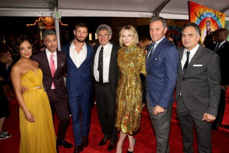 """HOLLYWOOD, CA - OCTOBER 10: (L-R) Actor Tessa Thompson, Director Taika Waititi, Actor Chris Hemsworth, Chairman, The Walt Disney Studios, Alan Horn, Actor Cate Blanchett, The Walt Disney Company Chairman and CEO, Bob Iger and Actor Mark Ruffalo at The World Premiere of Marvel Studios' """"Thor: Ragnarok"""" at the El Capitan Theatre on October 10, 2017 in Hollywood, California. (Photo by Jesse Grant/Getty Images for Disney) *** Local Caption *** Tessa Thompson; Taika Waititi; Chris Hemsworth; Alan Horn; Cate Blanchett; Bob Iger; Mark Ruffalo"""