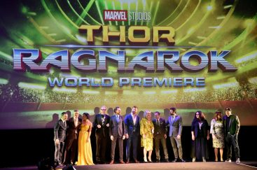"""HOLLYWOOD, CA - OCTOBER 10: (L-R) Executive producer Louis D'Esposito, Director Taika Waititi, actors Tessa Thompson, Jeff Goldblum, Tom Hiddleston, Chris Hemsworth, Cate Blanchett, Mark Ruffalo, Karl Urban, Rachel House, Executive producer Victoria Alonso and Producer Kevin Feige at The World Premiere of Marvel Studios' """"Thor: Ragnarok"""" at the El Capitan Theatre on October 10, 2017 in Hollywood, California. (Photo by Alberto E. Rodriguez/Getty Images for Disney) *** Local Caption *** Louis D'Esposito; Taika Waititi; Tessa Thompson; Jeff Goldblum; Tom Hiddleston; Chris Hemsworth; Cate Blanchett; Mark Ruffalo; Karl Urban; Rachel House; Victoria Alonso; Kevin Feige"""