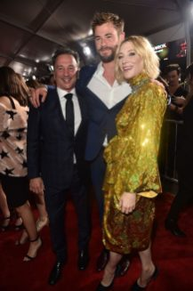 """HOLLYWOOD, CA - OCTOBER 10: (L-R) Executive producer Louis D'Esposito, actors Chris Hemsworth and Cate Blanchett at The World Premiere of Marvel Studios' """"Thor: Ragnarok"""" at the El Capitan Theatre on October 10, 2017 in Hollywood, California. (Photo by Alberto E. Rodriguez/Getty Images for Disney) *** Local Caption *** Louis D'Esposito; Chris Hemsworth; Cate Blanchett"""