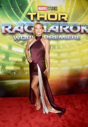 """HOLLYWOOD, CA - OCTOBER 10: Actor Zoe Bell at The World Premiere of Marvel Studios' """"Thor: Ragnarok"""" at the El Capitan Theatre on October 10, 2017 in Hollywood, California. (Photo by Alberto E. Rodriguez/Getty Images for Disney) *** Local Caption *** Zoe Bell"""