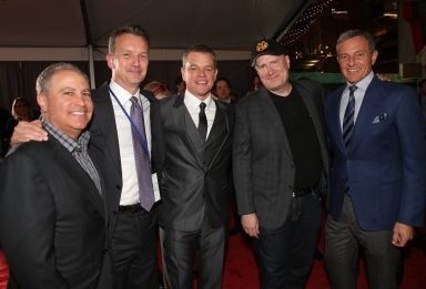 """HOLLYWOOD, CA - OCTOBER 10: (L-R) Walt Disney Studios President, Alan Bergman, President of Walt Disney Studios Motion Picture Production, Sean Bailey, actor Matt Damon, Producer Kevin Feige and The Walt Disney Company Chairman and CEO, Bob Iger at The World Premiere of Marvel Studios' """"Thor: Ragnarok"""" at the El Capitan Theatre on October 10, 2017 in Hollywood, California. (Photo by Jesse Grant/Getty Images for Disney) *** Local Caption *** Alan Bergman; Sean Bailey; Matt Damon; Kevin Feige; Bob Iger"""