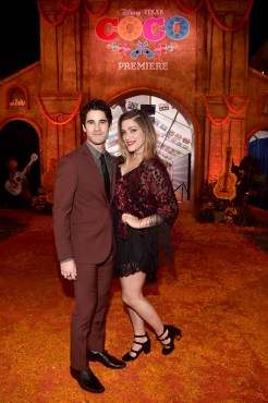 """HOLLYWOOD, CA - NOVEMBER 08: Actor Darren Criss (L) and director Mia Swier at the U.S. Premiere of Disney-Pixarís """"Coco"""" at the El Capitan Theatre on November 8, 2017, in Hollywood, California. (Photo by Alberto E. Rodriguez/Getty Images for Disney) *** Local Caption *** Darren Criss; Mia Swier"""