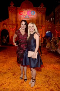 """HOLLYWOOD, CA - NOVEMBER 08: Songwriters Kate Anderson (L) and Elyssa Samsel of """"Olafís Frozen Adventure"""" at the U.S. Premiere of Disney-Pixarís """"Coco"""" at the El Capitan Theatre on November 8, 2017, in Hollywood, California. """"Olafís Frozen Adventure"""" featurette opens in front of Disney-Pixarís original feature ìCocoî for a limited time. (Photo by Alberto E. Rodriguez/Getty Images for Disney) *** Local Caption *** Kate Anderson; Elyssa Samsel"""
