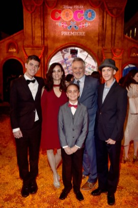 """HOLLYWOOD, CA - NOVEMBER 08: Director Kevin Deters of """"Olafís Frozen Adventure"""" (C) and family at the U.S. Premiere of Disney-Pixarís """"Coco"""" at the El Capitan Theatre on November 8, 2017, in Hollywood, California. """"Olafís Frozen Adventure"""" featurette opens in front of Disney-Pixarís original feature ìCocoî for a limited time. (Photo by Alberto E. Rodriguez/Getty Images for Disney) *** Local Caption *** Kevin Deters"""