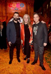 """HOLLYWOOD, CA - NOVEMBER 08: (L-R) Co-director/Screenwriter Adrian Molina, Producer Darla K. Anderson, and Director Lee Unkrich at the U.S. Premiere of Disney-Pixarís """"Coco"""" at the El Capitan Theatre on November 8, 2017, in Hollywood, California. (Photo by Alberto E. Rodriguez/Getty Images for Disney) *** Local Caption *** Lee Unkrich; Adrian Molina; Darla K. Anderson"""