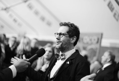 """HOLLYWOOD, CA - NOVEMBER 08: (EDITORS NOTE: Image has been converted to black and white) Composer Michael Giacchino at the U.S. Premiere of Disney-Pixarís """"Coco"""" at the El Capitan Theatre on November 8, 2017, in Hollywood, California. (Photo by Charley Gallay/Getty Images for Disney) *** Local Caption *** Michael Giacchino"""