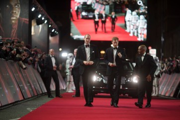 LONDON, UK DECEMBER 12: HRH Duke of Cambridge and HRH Prince Harry attend the European Premiere of Star Wars: The Last Jedi at the Royal Albert Hall in London, UK on Tuesday 12th December 2017.