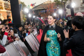 Daisy Ridley attends the Shanghai premiere of the highly anticipated Star Wars: The Last Jedi.