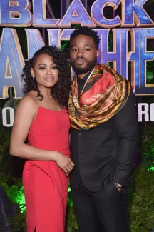 HOLLYWOOD, CA - JANUARY 29: Zinzi Evans (L) and director Ryan Coogler at the Los Angeles World Premiere of Marvel Studios' BLACK PANTHER at Dolby Theatre on January 29, 2018 in Hollywood, California. (Photo by Alberto E. Rodriguez/Getty Images for Disney) *** Local Caption *** Zinzi Evans; Ryan Coogler