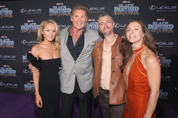 HOLLYWOOD, CA - JANUARY 29: (L-R) Actors Hayley Roberts, David Hasselhoff, Sean Gunn and guest at the Los Angeles World Premiere of Marvel Studios' BLACK PANTHER at Dolby Theatre on January 29, 2018 in Hollywood, California. (Photo by Jesse Grant/Getty Images for Disney) *** Local Caption *** Hayley Roberts; David Hasselhoff; Sean Gunn