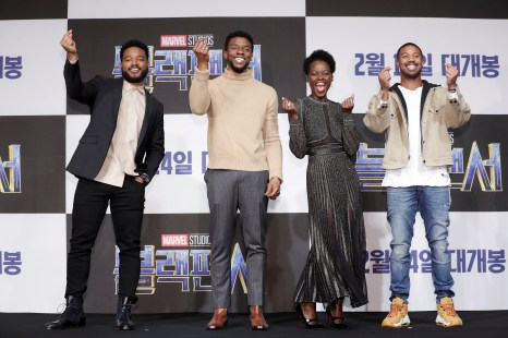 SEOUL, SOUTH KOREA - FEBRUARY 05: Director Ryan Coogler, Actor Chadwick Boseman, Lupita Nyong's and Michael B. Jordan(from L to R) attend the press conference for the Seoul premiere of 'Black Panther' on February 5, 2018 in Seoul, South Korea. (Photo by Han Myung-Gu/Getty Images for Disney) *** Local Caption *** Ryan Coogler; Actor Chadwick Boseman; Lupita Nyong'o; Michael B. Jordan