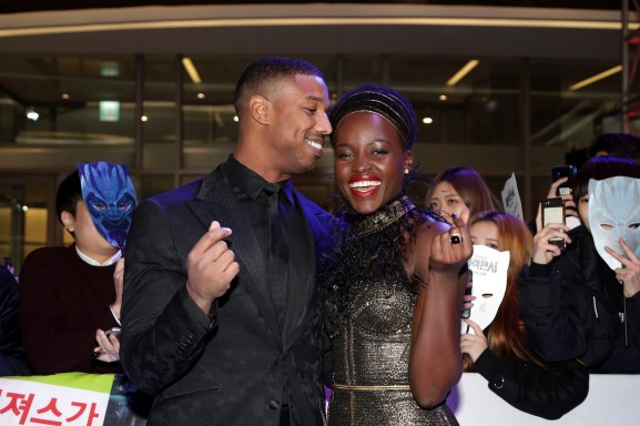 SEOUL, SOUTH KOREA - FEBRUARY 05: Actor Michael B. Jordan(L) and Lupita Nyong'o(R) arrive at the red carpet of the Seoul premiere of 'Black Panther' on February 5, 2018 in Seoul, South Korea. (Photo by Han Myung-Gu/Getty Images for Disney) *** Local Caption *** Michael B. Jordan; Lupita Nyong'o